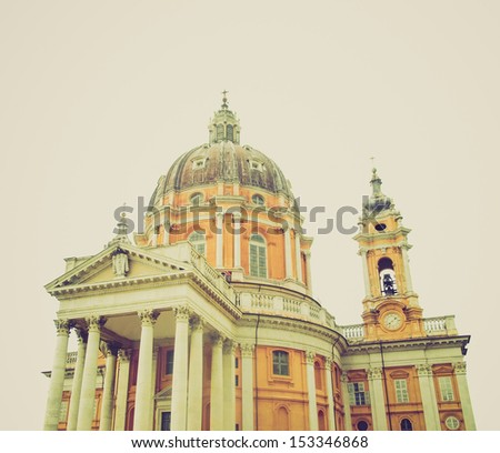 Vintage looking Baroque church Basilica di Superga,Turin, Italy - isolated over white