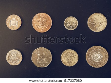 Vintage looking British Pounds coins of the United Kingdom
