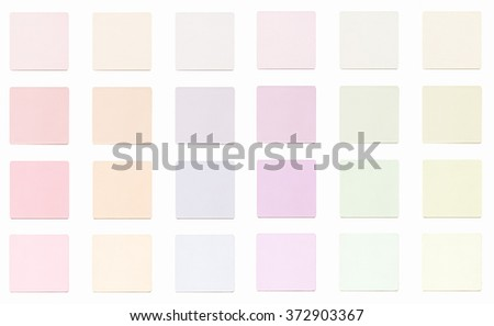 Vintage looking Colour fabric paint samples isolated over white