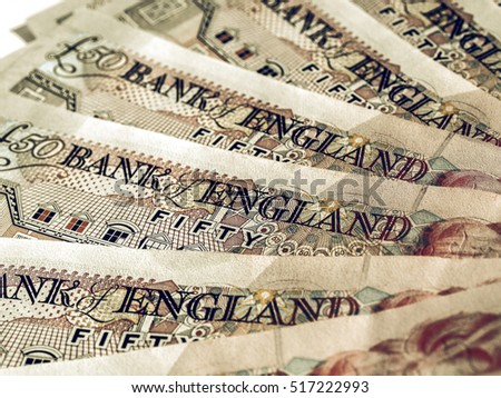 Vintage looking Detail of British Pounds banknotes money