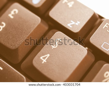 Vintage looking Detail of keys on a computer keyboard