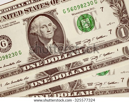 Vintage looking Dollar banknotes 1 Dollar currency of the United States useful as a background - stock photo