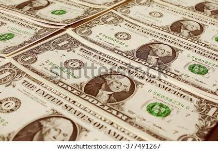 Vintage looking Dollar banknotes 1 Dollar currency of the United States useful as a background