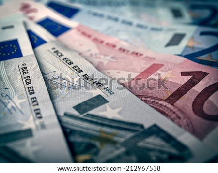 Vintage looking Euro banknotes money european currency - stock photo