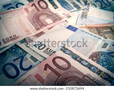 Vintage looking Euro banknotes money picture - stock photo