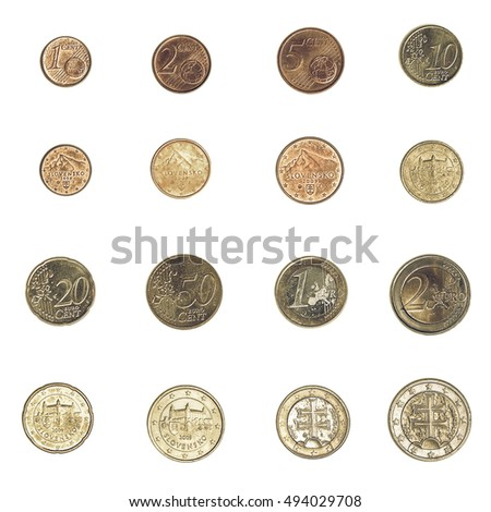 Vintage looking Euro coins including both the international and national side of Slovakia