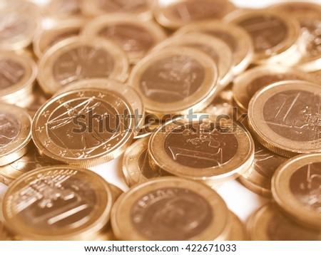 Vintage looking Euro coins money