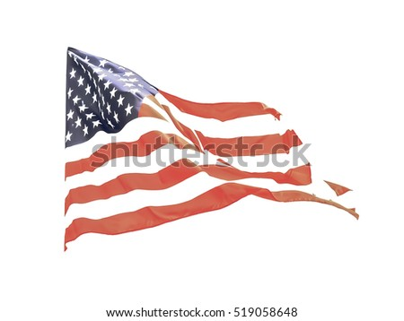 Vintage looking Flag of the USA (United States of America) floating in the wind