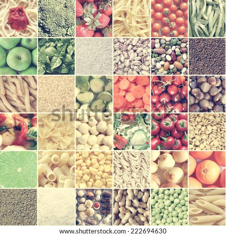 Vintage looking Food collage including pictures of vegetables, fruit, pasta - stock photo