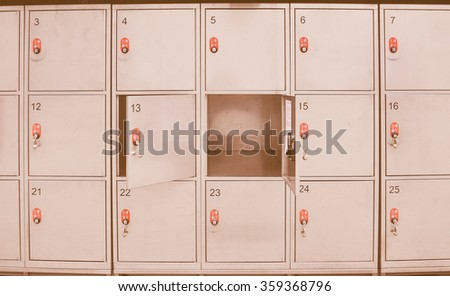 Vintage Looking Lockers Cabinets In A Locker Room At School Or Museum Or  Station
