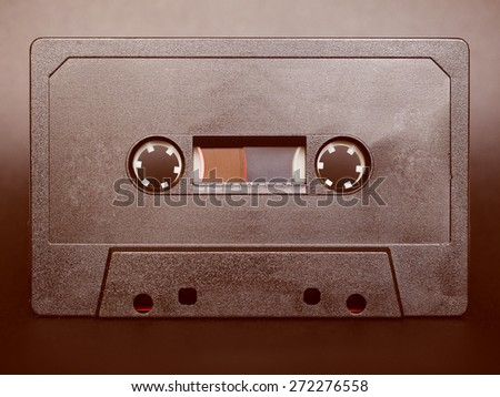 Vintage looking Magnetic tape cassette for analog audio music recording