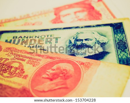 Vintage looking Money from the Communist countries: CCCP SSSR DDR Cuba