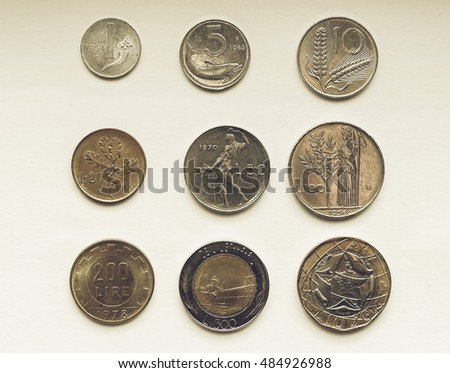 Vintage looking Old Italian liras coins now withdrawn and replaced by Euro