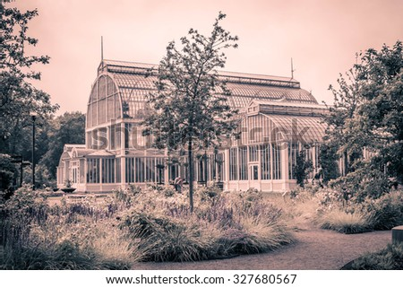 Vintage looking picture of an old greenhouse in the botanical garden in Gothenburg, Sweden