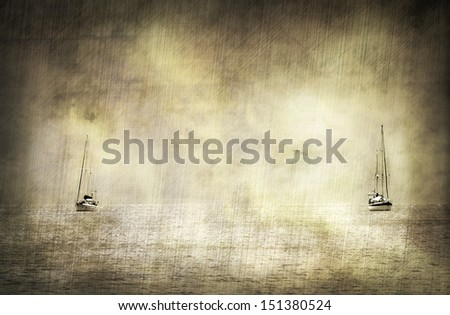 Vintage looking picture with two sailing boats in the caribbean - stock photo