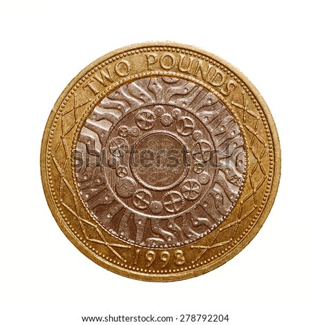 Vintage looking Pound coin - 2 Pounds currency of the United Kingdom isolated over white background