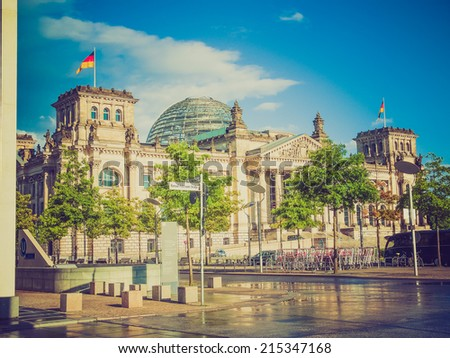 Vintage looking Reichstag German houses of parliament in Berlin Germany