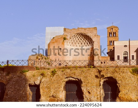 Vintage looking Ruins of the Tempio di Venere meaning Temple of Venus or Temple of Aphrodite in Rome Italy - stock photo