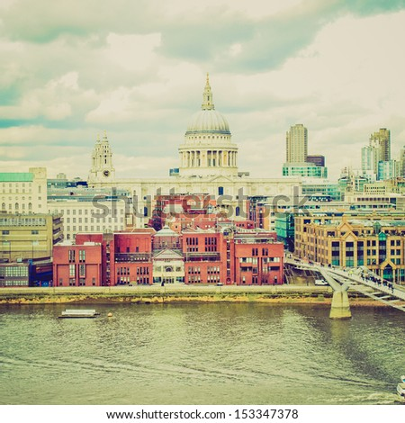 Vintage looking Saint Paul's Cathedral in the City of London, UK - stock photo