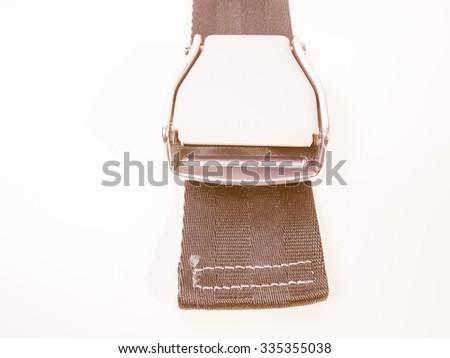 Vintage looking Seat belt aka safety belt vehicle safety device - stock photo