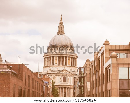 Vintage looking St Paul Cathedral church in London, UK