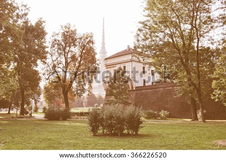 Vintage looking The Mole Antonelliana Turin (Torino) Piedmont Italy