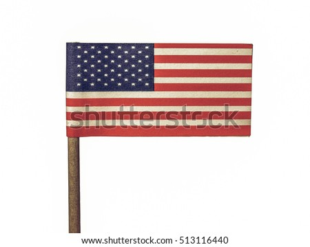 Vintage looking The national flag of United States, North America isolated over white