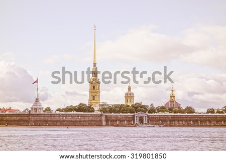Vintage looking The Neva River flowing through the city of Saint Petersburg in Russia