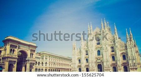 Vintage looking The Piazza Duomo square in Milan, Italy - stock photo