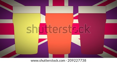 Vintage looking Three pints of British beer including lager, bitter and stout over Union Jack - stock photo