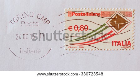 Vintage looking TURIN, ITALY - FEBRUARY 26, 2015: Italian stamp for priority mail printed by Poste Italiane - stock photo
