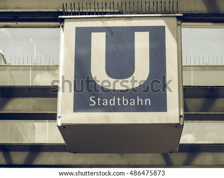 Vintage Looking Ubahn Underground Metro Subway Stock Photo 486475873
