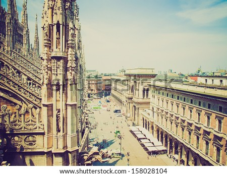 Vintage looking View of the city of Milan Milano in Italy - stock photo