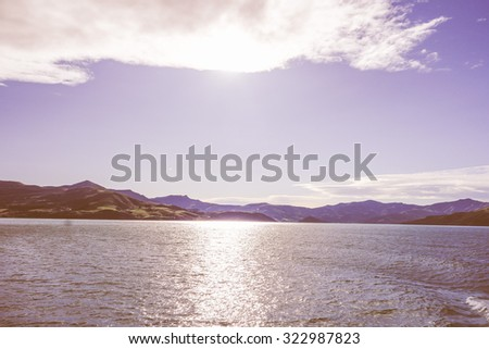 Vintage looking View of the sea in Akaroa, New Zealand