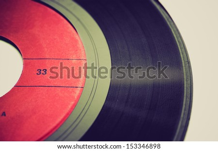 Vintage looking Vinyl record music recording support - stock photo