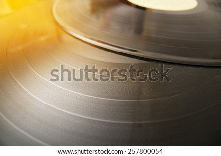 Vintage looking Vinyl record music recording support - music background - stock photo