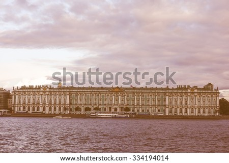 Vintage looking Winter Palace in Saint Petersburg official residence of the Russian monarchs from 1732 to 1917