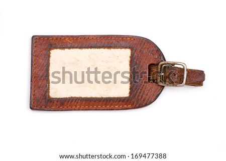 Vintage luggage label with clipping path - stock photo