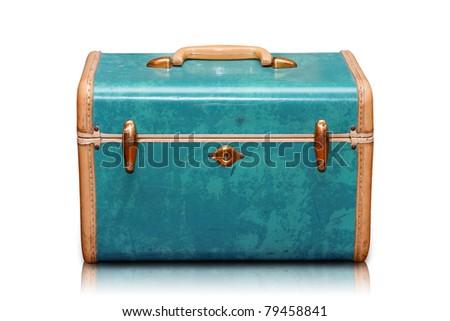 Vintage Luggage light blue - stock photo