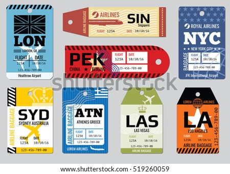 Vintage airline luggage tags images for Airline luggage tag template