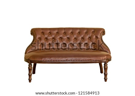 Vintage luxurious sofa furniture isolated white background
