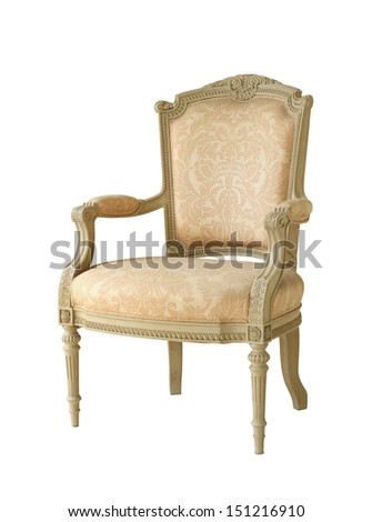 Vintage luxury armchair (with clipping path) isolated on white background - stock photo