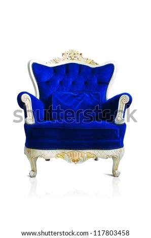 Vintage luxury Blue sofa Armchair isolated on white background