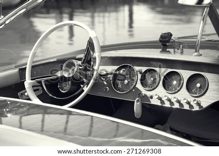 Vintage luxury boat commands - stock photo