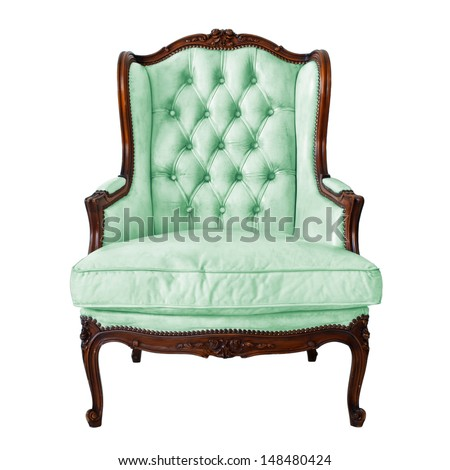 Vintage luxury Green Armchair isolated on white background