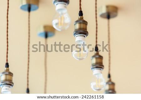 Vintage luxury interior lighting lamp decor hang on ceiling - stock photo