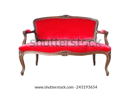 vintage luxury red sofa isolated on a white background