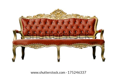 Vintage luxury scarlet sofa Armchair isolated on white background