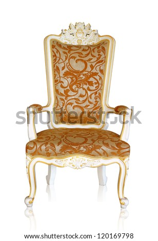 Vintage luxury white and golden armchair isolated on white background, clipping path - stock photo