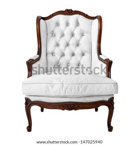 Vintage luxury White Armchair isolated on white background - stock photo